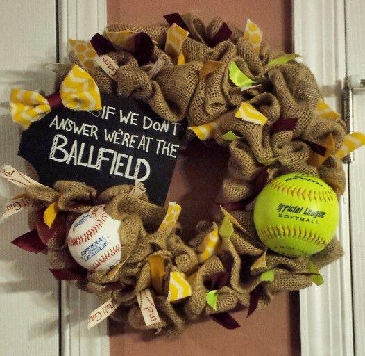 Baseball Softball Wreath by GreatfulGarlands