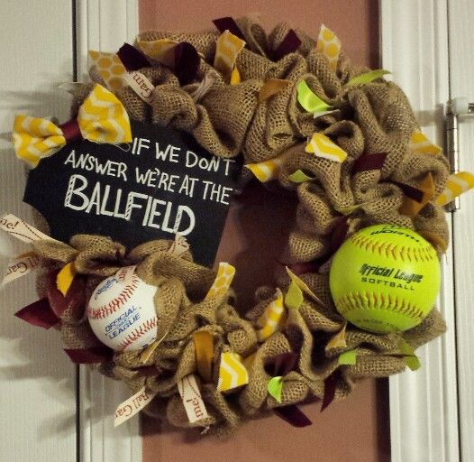 Diy Baseball Softball Wreath Related Keywords Suggestions Diy