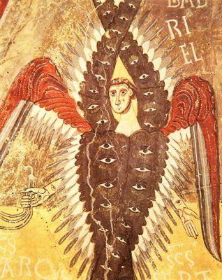 熾天使Σεραφίμはかつて大地を肥沃にするカルデアの電光の蛇と呼ばれた。これが後にメルクリウス神の持つカドゥケウスの杖にからみつく蛇の霊になった。メルクリウスは大天使ミカエルに結びつき、ミカエルは孔雀の羽を備えている。孔雀の羽の眼はすべてを見るものである。