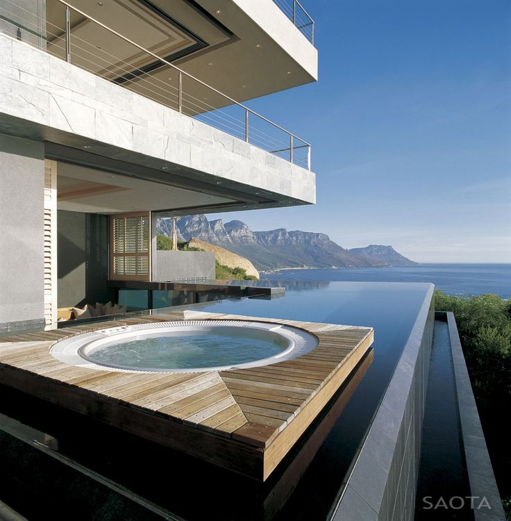Jacuzzi, hot tub, rim flow pool with views, wooden decking
