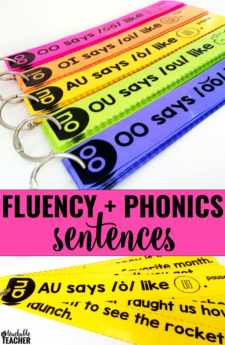 Fluency activities that will engage your students! Turn fluency into a fun reading game with these phonics based fluency sentences.  Click to find two ways to print and use for reading practice with kindergarten and first grade.  Sentences include CVC words, digraphs, blends, vowel teams, diphthongs, and more!