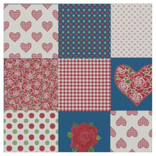 Hearts and Red Roses Faux Patchwork Pattern Fabric: up to $27.95 - http://www.zazzle.com/hearts_and_red_roses_faux_patchwork_pattern_fabric-256912611918142466?view=113033120341478350&rf=238041988035411422&tc=pintw