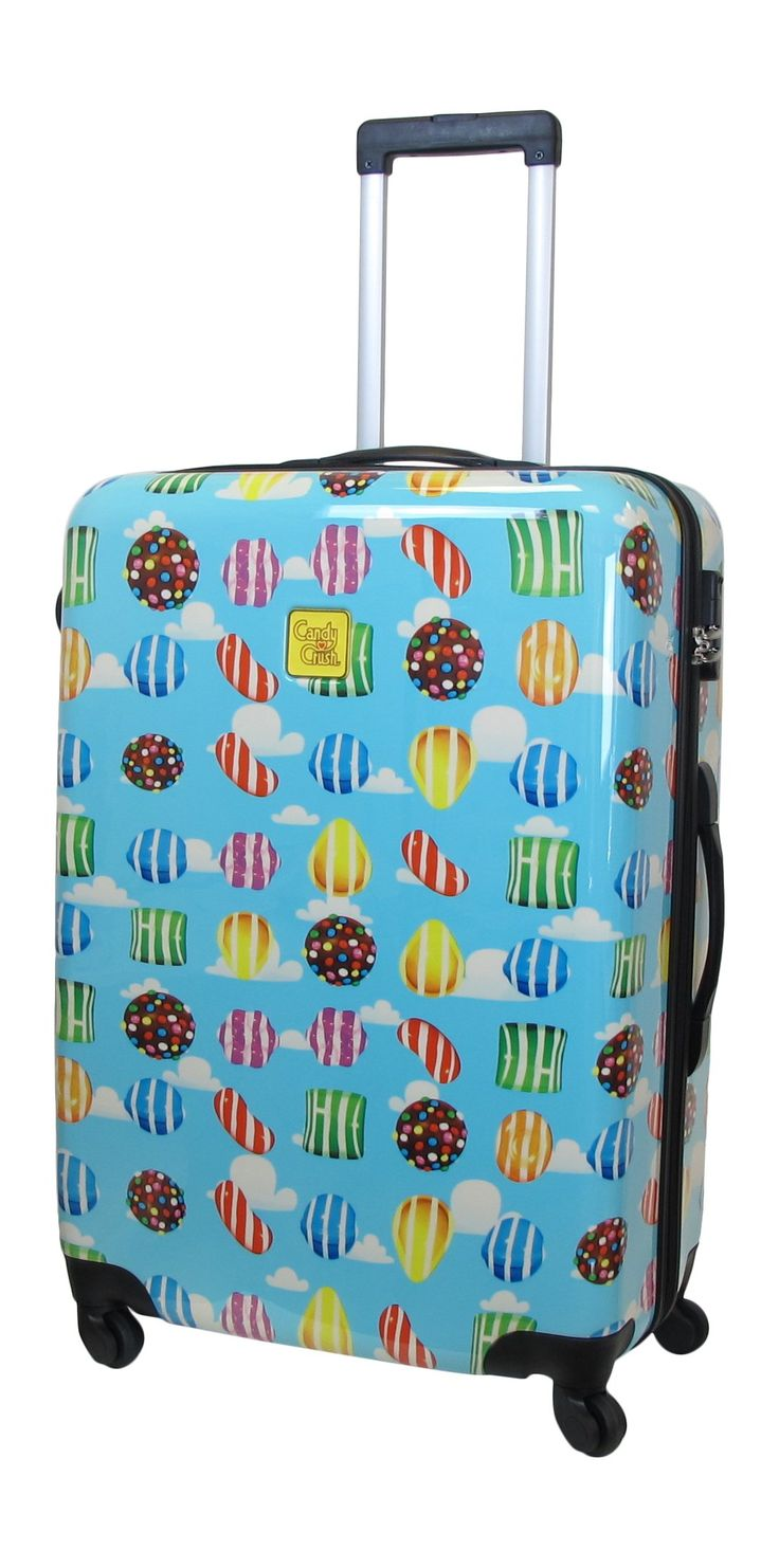 Candy Crush Cabin Bag All Over Print Large, Multi-Colored, One Size. Aluminum adjustable handle. Plastic wheels.