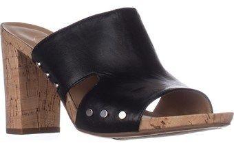 Franco Sarto Jeanette Heeled Mule Sandals, Black Leather.