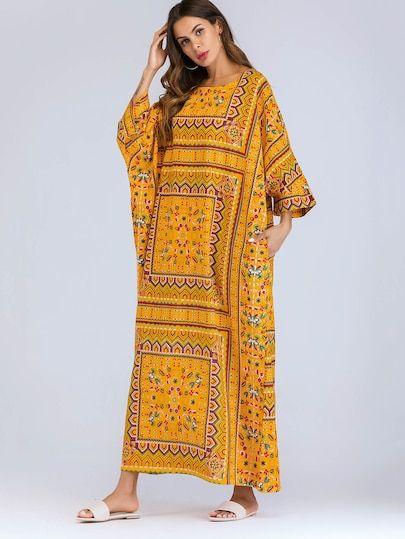 fc03076c51 Flower Print Batwing Sleeve Longline Dress   SHEIN   My Fantasy ...