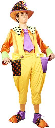 Клоун Клёпа Комплектация: (головной убор, рубаха, штаны, ботинки)  Брюки выполнены из плащевой ткани с распорным кольцом в поясе для прибавки объема артисту. Рубаха, шляпа и ботинки изготовлены их атласного материала. Костюм клоуна Клепа предназначен для частого использования на мероприятиях. Подлежит стирке вручную. Хранить костюм в защищенном от пыли и солнца месте.