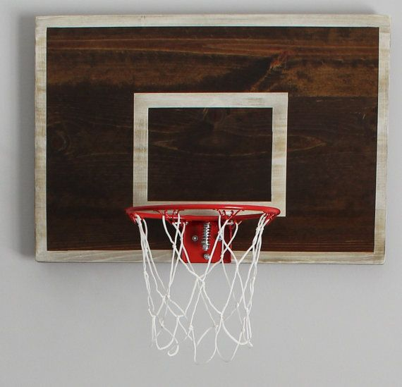 Vintage Designed Basketball Backboard with Rim Wall Decor-MINI SIZE-Great for Rustic Man Cave, Basement, Office or Child's Sports Room