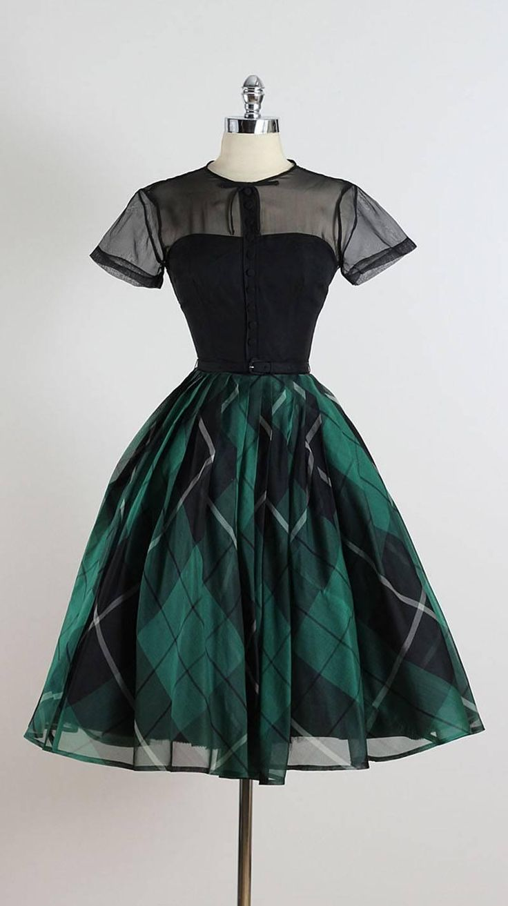 Vintage 1950s Jonny Herbert Plaid Dress - this is gorgeous, love the shape and the organza layers!