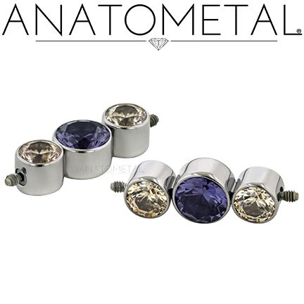 14ga Double Threaded Clusters in ASTM F-136 titanium with Champagne CZ and synthetic Alexandrite gemstones
