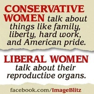 """""""It's dam good to be a conservative woman!! Amen"""" Yes, because as we all know, Conservatives like to talk about OTHER womens reproductive organs!"""