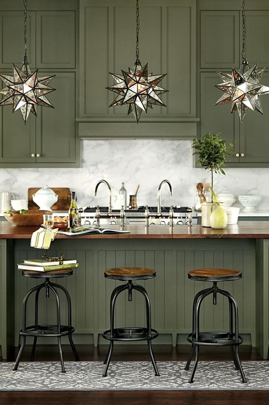 Moss Green Cabinets And Mehrabian Star Lights