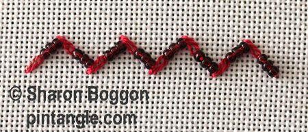 Beaded feathered chain stitch via Pintangle.com
