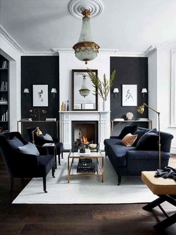 Black And White Living Room Decor With Black Velvet Sofa And Armchair Living Room Sets Furniture Modern Living Room Furniture Sets Modern Furniture Living Room Black white living room decor