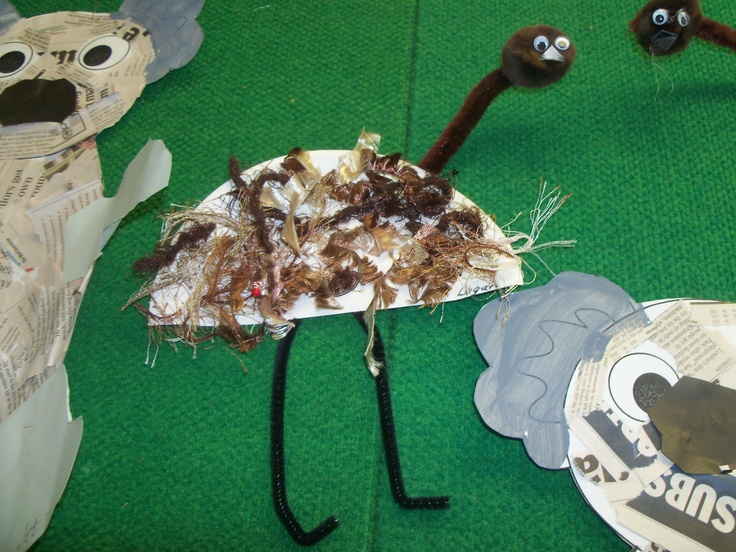 Use assorted brown wool for the body and pipe cleaners for the legs and neck.