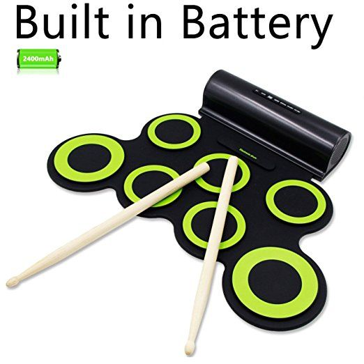 Electronic Drum Set, Rockpals Roll Up Drum Practice Pad Midi Drum Kit with Headphone Jack Built-in Speaker Drum Pedals Drum Sticks 10 Hours Playtime for Kids Children