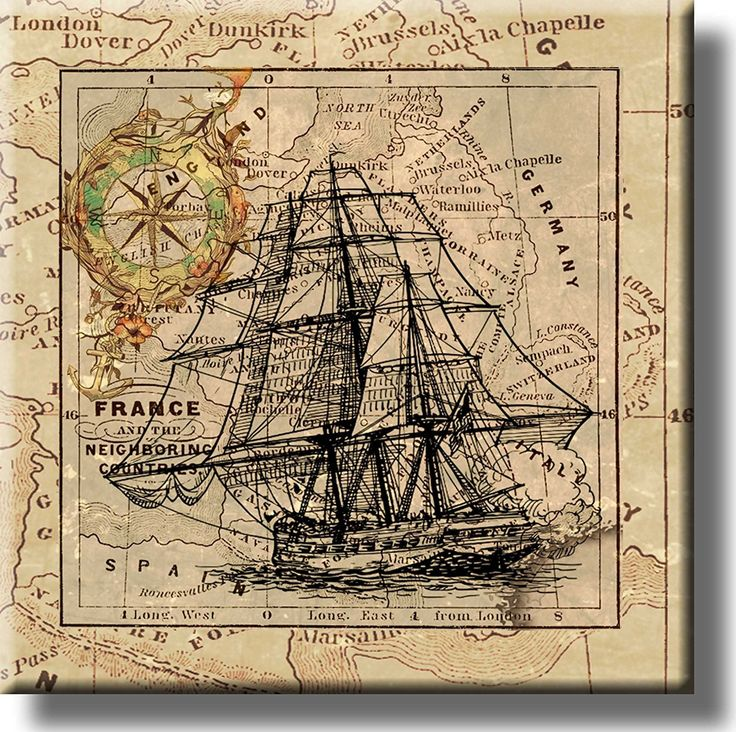 Sail Ship and Vintage Map Picture on Stretched Canvas, Wall Art Décor, Ready to Hang