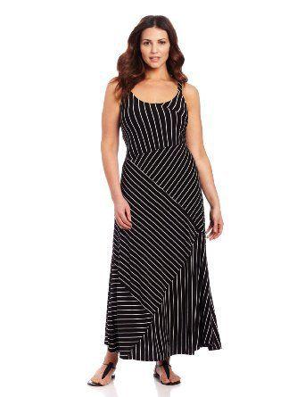 Vince Camuto Women's Plus-Size Bandage Stripe High Low Tank, Rich Black, 3X