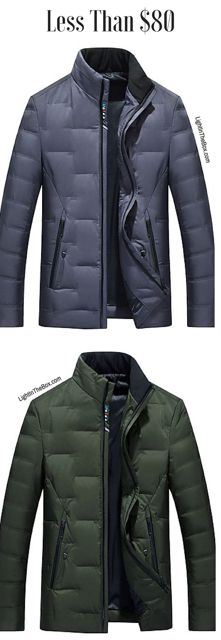 Warm padded under coat fr men. Find it in grey-blue, khaki green colours at just $79.79. Click to shop.
