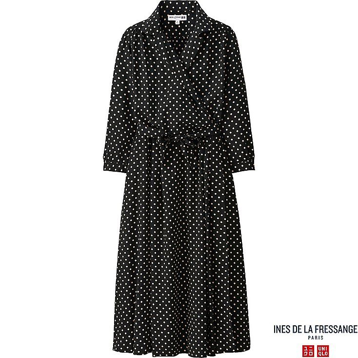 WOMEN IDLF RAYON PRINTED WRAP FRONT DRESS, BLACK, large