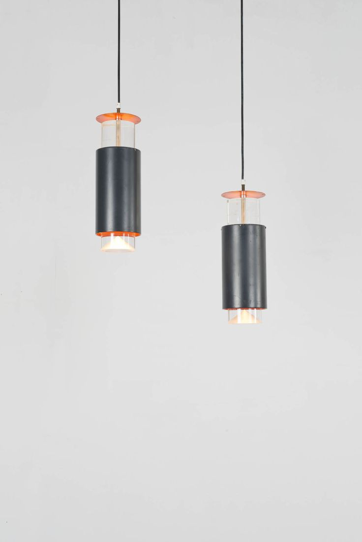 Simon Henningsen; Lucite, Brass and Enameled Metal Ceiling Lights, 1960s.
