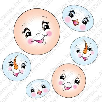 PK-482 Winter Wonderland Face Assorment: Peachy Keen Stamps | Home of the original clear, peach-tinted, high-quality whimsical face stamps.