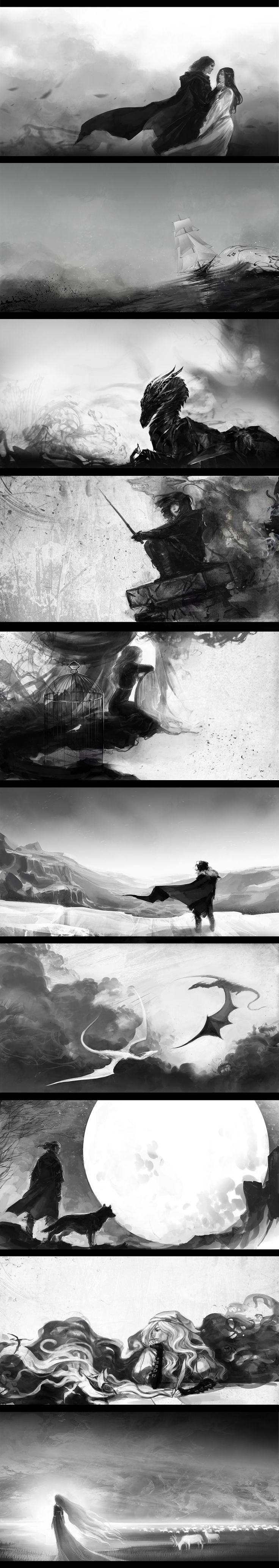 "Illustrations for inner booklet of album ""Epic"" by Aire&Saruman (russian music band). There is songs about heroes of GoT and Robin Hobb's books."