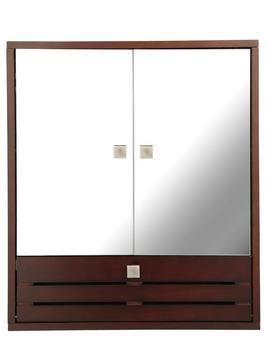 Slatted 3-door Mirrored Bathroom Cabinet - Dark Wood   woolworths.co.uk£49