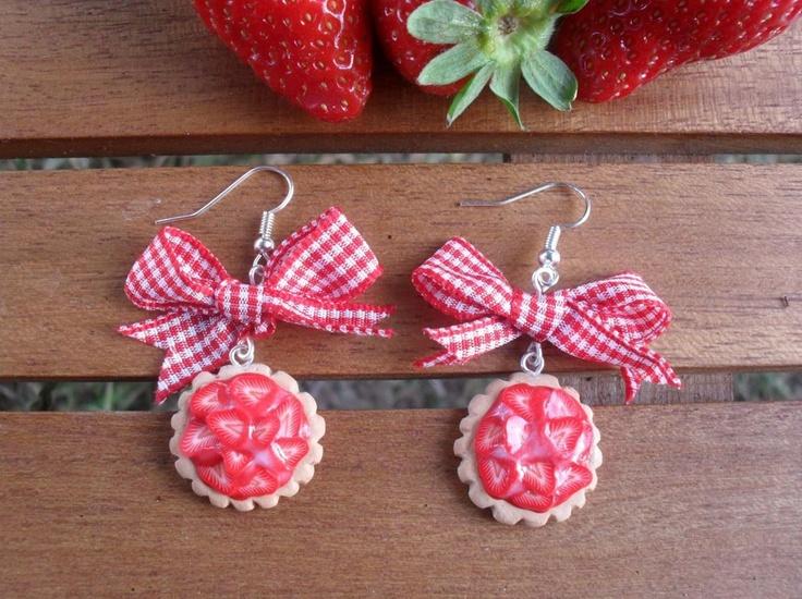 Crostatine alle fragole - orecchini, by PinkFlamingo Shop, 7,90 € su misshobby.com