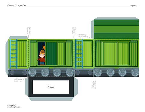cargo train car printable 3d