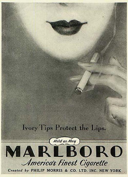 El tabaco es nocivo para la salud, pero como no alardear con esta icónica marca. | Marlboro cigarette ad, 1930s.