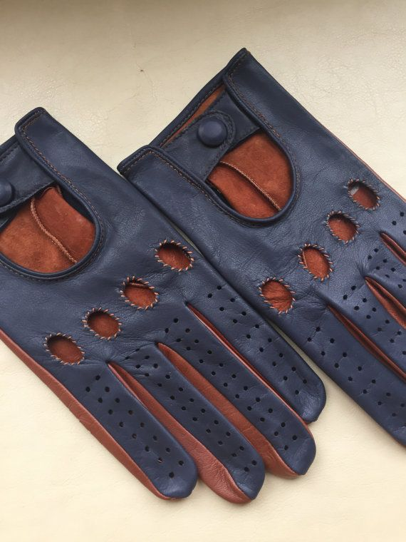 Driving gloves/ Italian leather/ leather gloves/Navy and Tobacco/two-tone gloves/ fancy gift/ gift for him/ boyfriend gift/ car driver glove