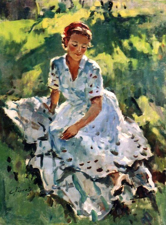 Л.А.Русов . Девушка в белом.  1954