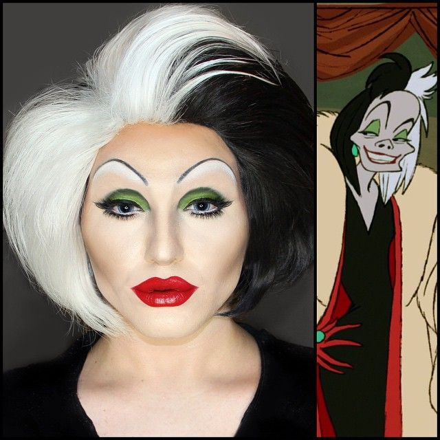 Cruella De Vil Eyes: @bhcosmetics 120 color palette 1st edition. @velourlashesofficial kardasian & wingwoman lashes. @pinkyparadise princess pinky blue contacts. Lips: @nyxcosmetics deep red liner & Eden lipstick. Absolutely spectacular wig by the wonderful @hairhegoes. joyviewer.com