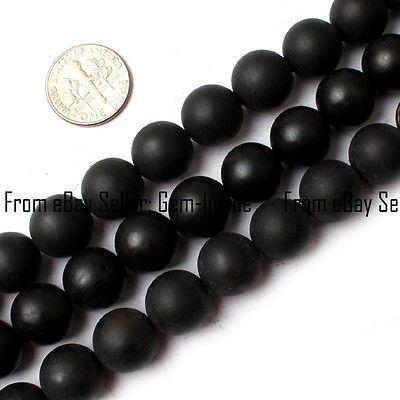 "Round Matte Black Brazil Agate Beads Jewelry Making Gemstone Strand 15"" 4mm-25mm"