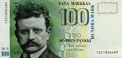 Sibelius, featured on the Finnish 100 markka (FIM) note.