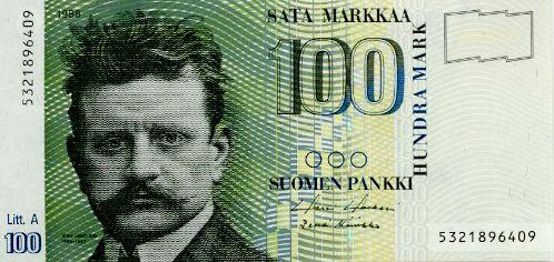 Finnish composer Jean Sibelius born Johan Julius Christian Sibelius (1865-1957) on a old Finnish banknote 'sata markkaa'!