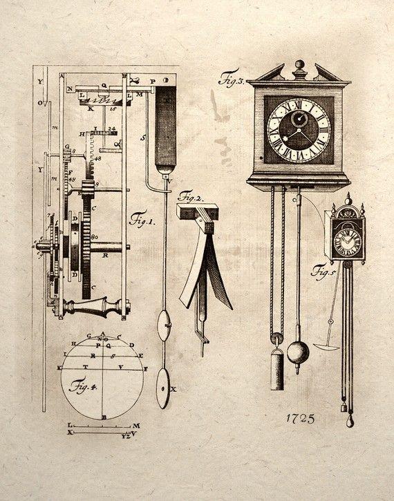 Steampunk Art Print Clock Mechanical Gear System by TigerHouseArt, $14.00