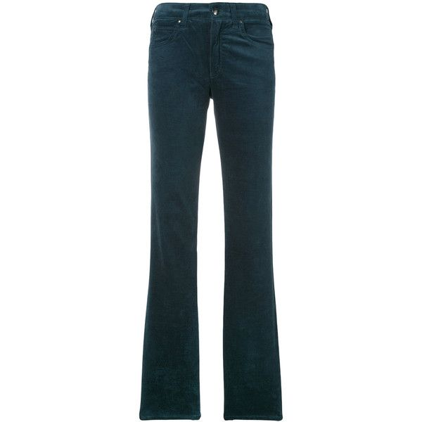 Armani Jeans Straight Trousers (645 BRL) ❤ liked on Polyvore featuring pants, blue pants, blue trousers, armani jeans, straight trousers and straight pants