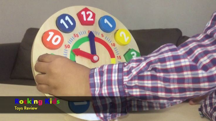 Playing With Wooden clock learning numbers and shapes for kids.best toy for toddler - YouTube