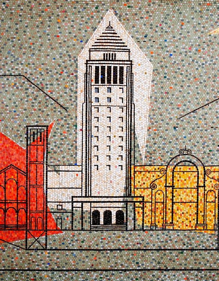 "Detail: Los Angeles City Hall from Joseph L Young's ""Theme of Los Angeles"" mural 1955 Parker Center Building.  Photo via www.laconservency.org"