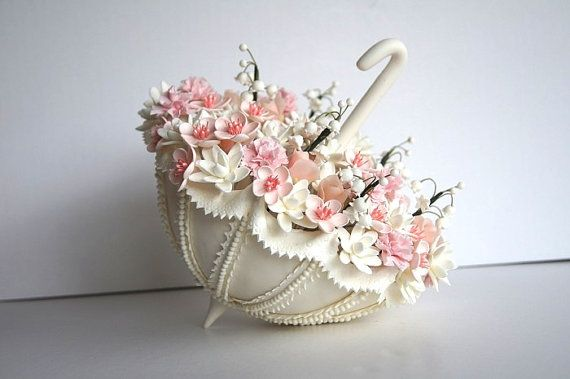 Wedding Cake Topper. Hand made Clay Parasol/Umbrella Cake by parsi