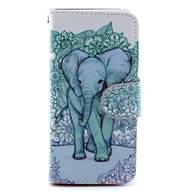 blauwe achtergrond olifant patroon pu lederen full body case voor de iPhone 5c – EUR € 6.71