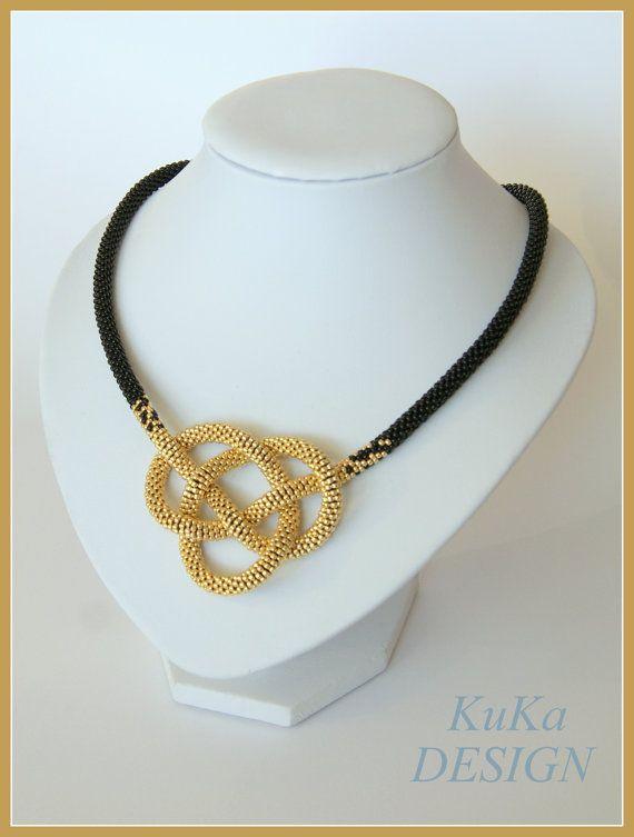 bead crochet necklace Gold Knot, toho glass beads