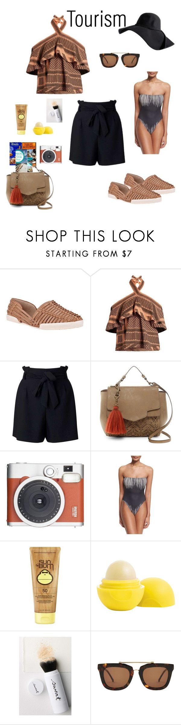 """Florida Tourism"" by njpryce ❤ liked on Polyvore featuring Elliott Lucca, CECILIE Copenhagen, Miss Selfridge, T-shirt & Jeans, Fuji, Norma Kamali, Sun Bum, Eos, Sweat and Kaibosh"
