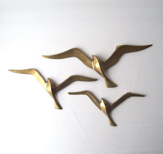 vintage brass seagulls birds wall hanging by RecycleBuyVintage, $34.00
