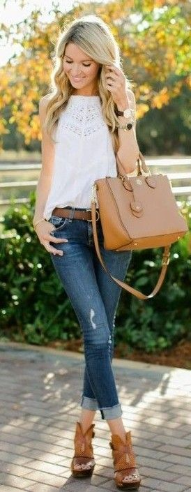 #spring #street #style #inspiration | White Detailed Tank, Camel Bag, Ripped Denim, Camel Sandals | Blonde Expeditions