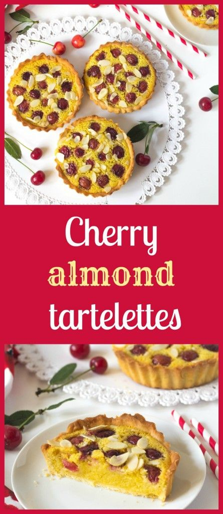 Small tarts, tartelettes, from kneaded dough with almond filling similar to frangipani dessert and fresh cherries