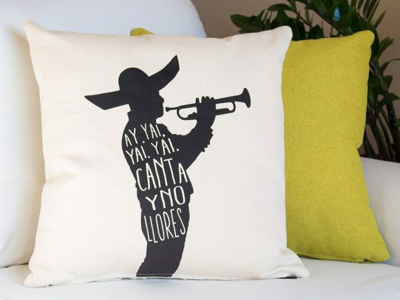 Feel the emotion, smiles, and rhythms of an authentic Mexican Mariachi with our Canta y No Llores decorative pillow cover. Translated to Sing and