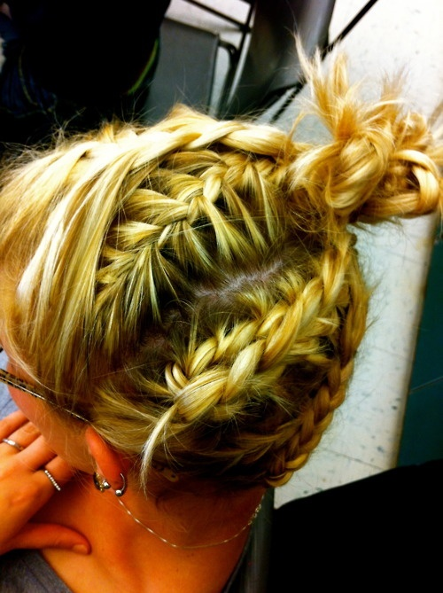 I would do a sock bun on top of this, not that weird sticking out stuff. Other than that its so awesome!