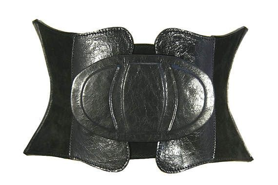 Black leather corset belt Wide waist belt Womens belt Boho chic corset